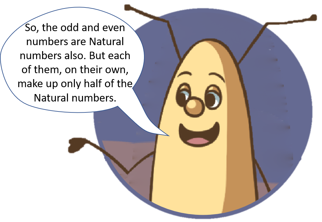 So, the odd and even numbers are Natural numbers also. But each of them, on their own, make up only half of the Natural numbers.